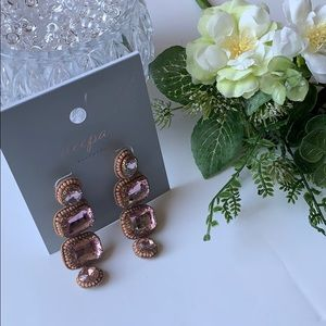 Deepa Gurnani pink crystal drop earrings